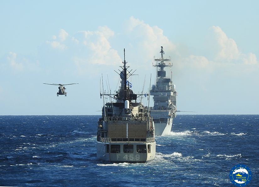 Operation Irini: passex exercise between IRINI's Flagship Adrias and Italian warships