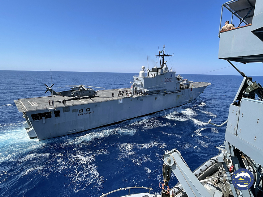 Operation Irini: Ships SAN GIORGIO, BERLIN and L'HER engaged in joint exercises
